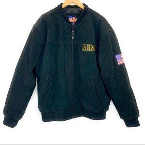 Jackets & Coats - Black Army Suede Zip Front Jacket